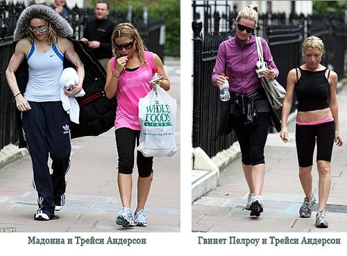 Мадонна и Трейси Андерсон. Гвинет Пелтроу и Трейси Андерсон. Фото.